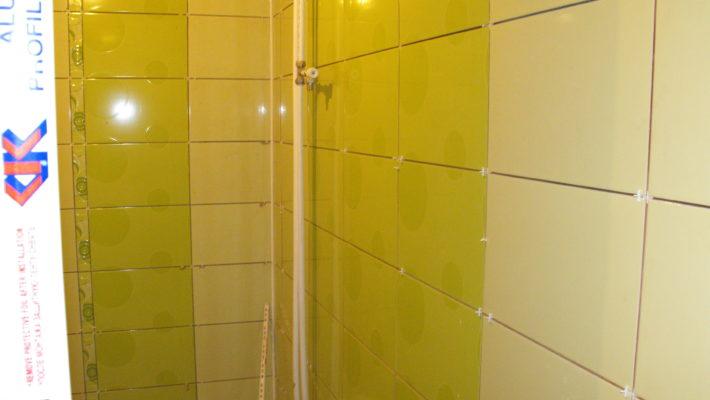 bathroom two coloured tiles