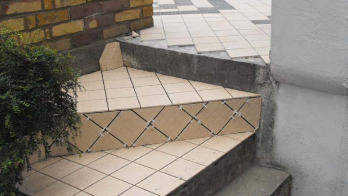 tiling, external stairs