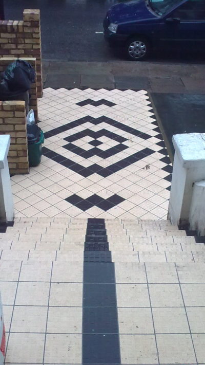 external stairs covered with tiles