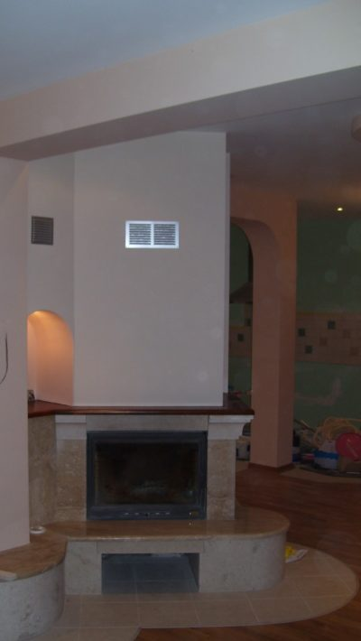 fireplace; painted walls