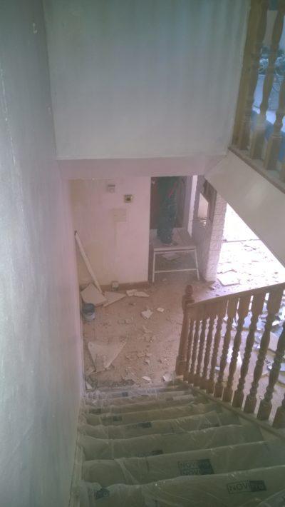 demolition work, stairs