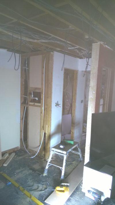 plumbing work, new small bathroom