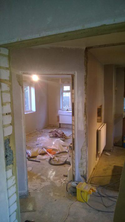 demolition work, living room