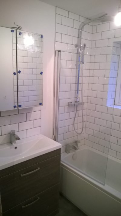 bath with screen, sink, mirror, cabinets