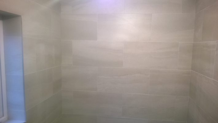 finished bathroom tiling