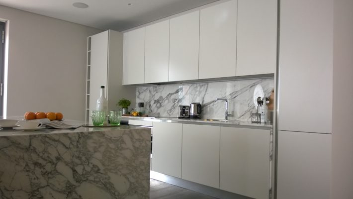 kitchen in white and marble