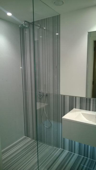 walk-in shower, tiles